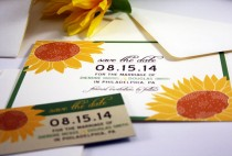 wedding photo - NEW Wedding Save the Date Sample Giant Sunflower Pocketfold, Rustic, Modern, Invitation, RSVP, Thank You, Gold Yellow Brown Green