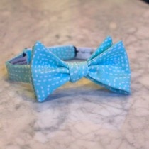 wedding photo - Square Stitch in Aqua Blue Bow Tie - Self tying - freestyle - Groomsmen gift and ring bearer outfit