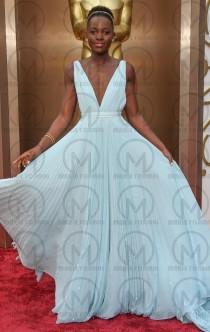 wedding photo -  V neck red carpet formal dress,blue formal dress for gils