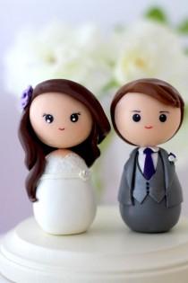 wedding photo - Personalized Custom Wedding Cake Topper Kokeshi Figrurines