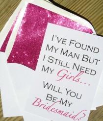 wedding photo - Be My Bridesmaid Card // Fuchsia Glitter Liner // White Envelope