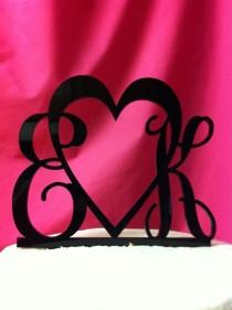 wedding photo - Custom Monogram 2 Letter & Heart Acrylic Personalized Initial Monogram Wedding Cake Topper
