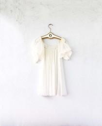 ce5018d43db Vintage 60s 70s Sheer Swing Star Ruffle Trapeze Dress // Boho White Angel  Lingerie Short Mini Tunic