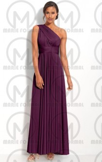 wedding photo -  One shoulder purple bridesmaid dresses