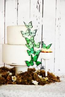 wedding photo - Edible Ombre Monarch Butterflies - Food Decorations - Wedding Cake Topper - Cupcake Decoration -  Large Green Shown