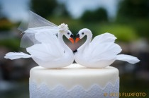 wedding photo - White Swan Cake Topper: Unique, Elegant Bride and Groom Wedding Cake Topper