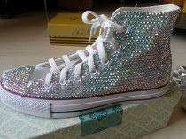 wedding photo - bling flat shoes sparkly AB crystals bridal shoes flats wedding converse shoes bridal converse bling sparkle girls flat shoes