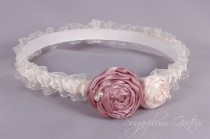 wedding photo - Wedding Garter in Champagne and Ivory Satin with Rosette Roses