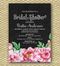 7f0423d17 Vintage Chalkboard Bridal Shower Invitation Shabby Chic Bridal Shower Floral  Bridal Brunch Invitation Pink Peonies