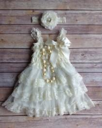 1e1509026 Cream Ivory Lace Toddler Baby Dress