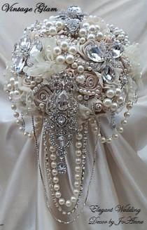 wedding photo - VINTAGE GLAM- DEPOSIT For Vintage Glam Bridal Brooch Bouquet In Ivory Champagne Mix With Draping Jewels, Brooch Bouquet