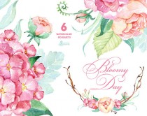 wedding photo - Bloomy Day: 6 Watercolor Bouquets, hydrangea, peonies, wedding invitation, floral frame, greeting card, diy clip art, flowers, mint and pink