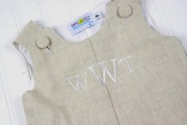 wedding photo - Baby Boy Wedding Outfit- Monogrammed Jon Jon perfect for Ring Bearers at Rustic or Beach Weddings.