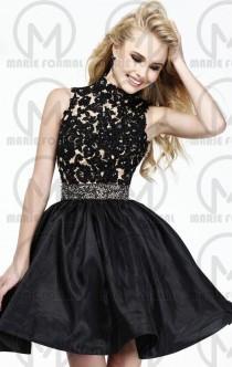 wedding photo -  Vintage Black lace formal dress,Short strapless formal dress online