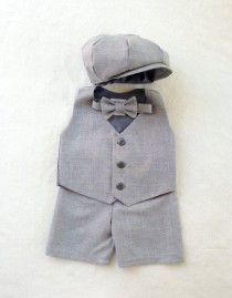 wedding photo - Page Boy Outfit - Ring Bearer Outfit - Boy First Birthday Outfit - Baby Boy - Ring Boy Suit - Gray Ring Bearer - Page Boy Suit - Grey Suit