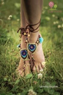 wedding photo - Barefoot Sandals Tribal Peacock Czech Beads Crochet Foot Jewelry Hippie Festival Wear Yoga Beach Boho Anklet Destination wedding shoes