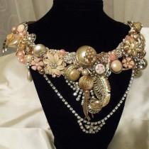 wedding photo - Statement Bib Necklace, Amazing Rhinestone Necklace, Blush N Pearl Statement Bib Neck Piece