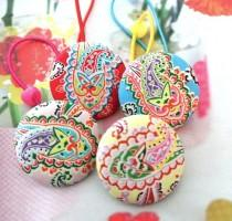 wedding photo - Large Red Yellow Pink Blue Paisley Floral Flower Hair Ponytail Holder Ties, Girl Baby Hair Accessories