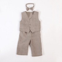 wedding photo - Baby boy linen suit ring bearer outfit boy baptism natural clothes first birthday rustic wedding beach many color formal SET of 3 baby photo