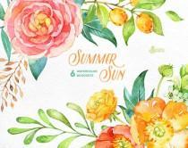 wedding photo - Summer Sun: 6 Watercolor Bouquets, popies, ranunculus, peonies, floral wedding invitation, greeting card, diy clip art, flowers, fruits, sun