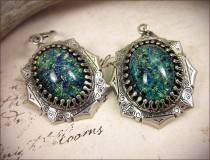 wedding photo - Teal Green Renaissance Earrings, Antiqued Silver Jewel Earrings, Tudor Earrings, Renaissance Wedding, SCA Jewelry, Medieval, Ready to Ship