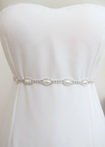 wedding photo - Bridal Crystal Pearl Beaded  Belts  Wedding Sash Belt Ready to Ship