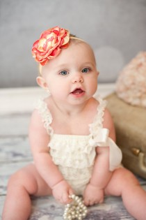 wedding photo - Coral Yellow Peach Flower Baby Headband, Vintage Photo Prop, Flower Girl Wedding, Newborn Baby Toddler Child Girls Headband