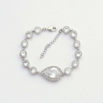 wedding photo - Bridal Bracelet Wedding Jewelry Clear Cubic Zirconia Teardrop Bracelet Silver