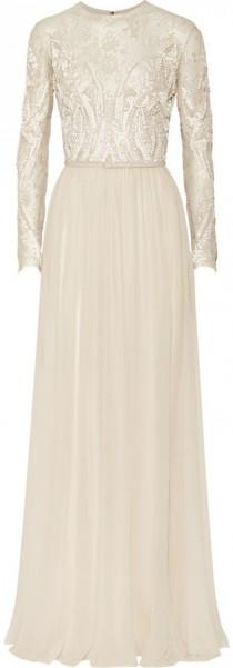 wedding photo - Elie Saab Embroidered lace and silk-blend georgette gown