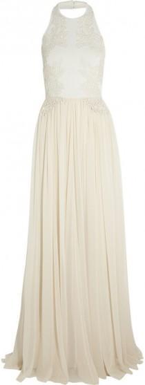 wedding photo - Elie Saab Guipure lace-appliqu?d stretch-knit and silk-chiffon gown