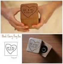wedding photo - Wedding Ring Box- Personalized Ring Box- Rustic Wedding Wood Ring Bearer - Hand Engraved- Custom design of your choice