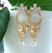 wedding photo - Wedding jewelry Statement earrings OOAK Floral earrings with Cubic zirconia, gold circle and Swarovski clear glass Bridal jewelry