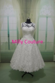 wedding photo - Audrey- Vintage style lace short bridal gown, vintage inspired tea length wedding dress, 1950s satin wedding dress, 50s style bridal gown