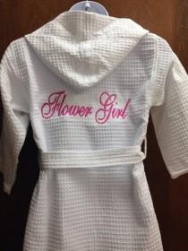wedding photo - Personalized Embroidered Flower Girl Robe, Ring Bearer Bathrobe~ Hooded Robe Waffle Weave,