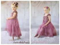 wedding photo - Vintage Pink Lace Girls DRESS, Ruffle dress, flower girl dress, birthday dress, baby dress, dusty rose dress, MATCHING Accessories in store