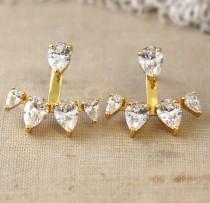 wedding photo - Ear Jacket earrings crystal earrings gold ear jacket diamond ear jacket Bridal ear jacket trending jewelry crystal white studs Stud earrings