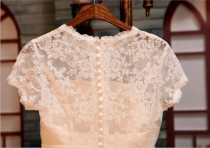 wedding photo - Vintage Inspired French Corded Ivory Lace Cap Sleeves Wedding Dress
