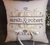 wedding photo - Ring Bearer Pillow, personalized ring bearer pillow, embroidered ring pillow, wedding pillow, custom ring pillow, Mr and Mrs ring bearer