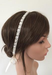 wedding photo - Bridal Hearts Headband, Rhinestone and Lace Embroidered Wedding Hairband, Bridal Headpiece, Beadwork, Fast Delivery
