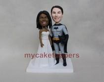 wedding photo - Batman wedding cake topper,custom wedding cake topper, cake topper for wedding, personalized batman cake topper,batman,super hero,funny