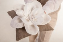 wedding photo - Wedding party ring bearer linen pillow rustic wedding ring pillow natural linen pillow flower wedding accessories beach wedding pillow white
