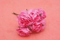 wedding photo - Paper Flowers, bunch of 6 stems - Small Bouquet - wedding, party favour,  scrapbooking