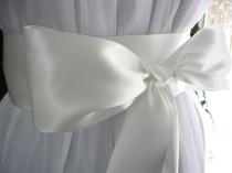 wedding photo - Off white wedding sash, bridal sash, bridesmaid sash, bridal belt, dress sash, gown sash, 3 inch satin