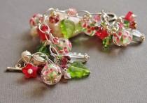 wedding photo - Floral Charm Bracelet, Lampwork Glass Bead Bracelet, Pearl Bracelet, Pink Green, Sterling Silver - BOUQUET