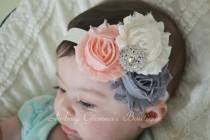 wedding photo - Newborn headband, shabby chic headband, infant headbands, baby hair bow, flower girl headband, wedding headband, baby accessories