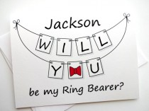 wedding photo - Will You Be My Ring Bearer Card - Personalized Pennant Design