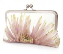 wedding photo - Clutch bag, silk purse, pink petals, wedding purse, flower clutch, bridesmaid gift, PINK CHRYSANTHEMUM