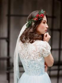 wedding photo - Ilaria // Sky Blue Tulle Wedding Dress - Modest Wedding Gown - Romantic Tulle Gown - Short Sleeve Wedding Dress - Lace Wedding Dress