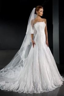 wedding photo - Décolleté Wedding Dress. Lace Wedding Dress. Sleeveless Wedding Dress. Sexy Wedding Dress. Chapel Train Wedding Dress