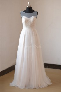 wedding photo - Romantic ivory nude lining A line lace tulle wedding dress with illusion neckline